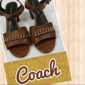 Coach Chain Leather Heel Sandal sz 6.5